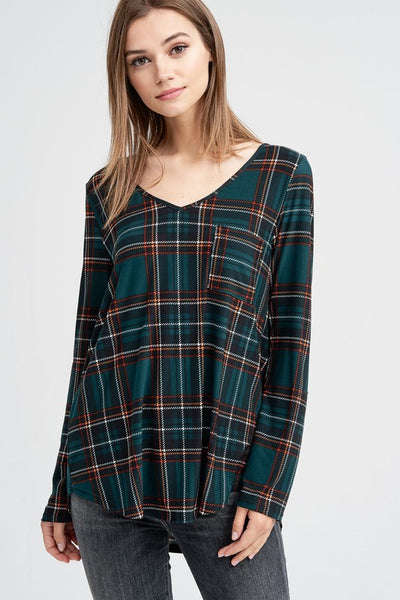 Long Sleeve Plaid Front Pocket Knit Top