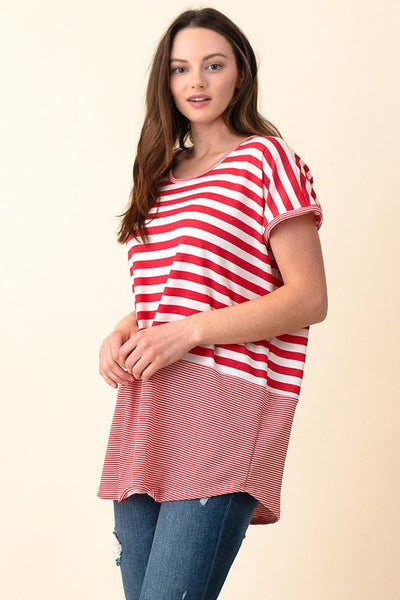 Variegated stripe cap sleeve knit top