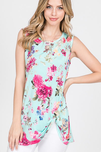 Sleeveless Floral Top with Twist Knot