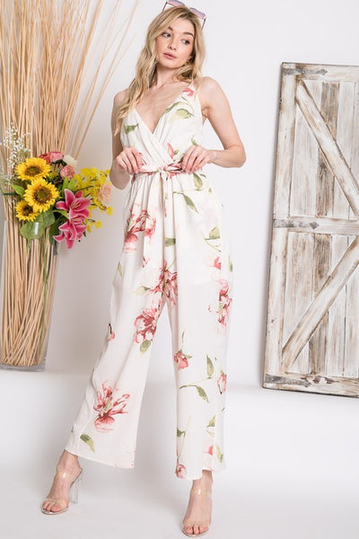 Romantic Floral Surplice Wrap Jumpsuit