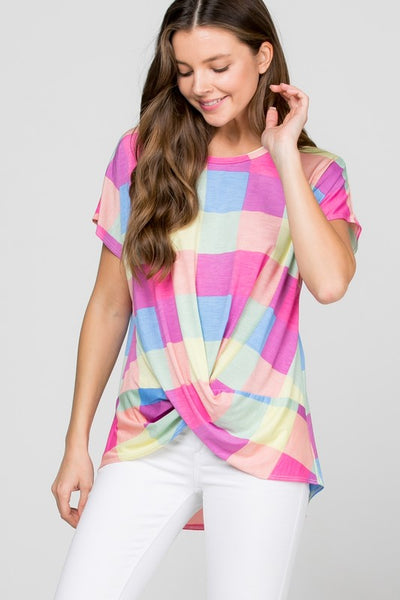 Short Sleeve Color Plaid Print Knot