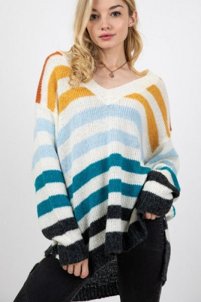 Striped Long Sleeve V-Neck Sweater