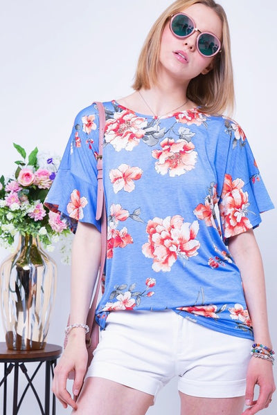 Floral Boat Neck Ruffle Sleeve Top