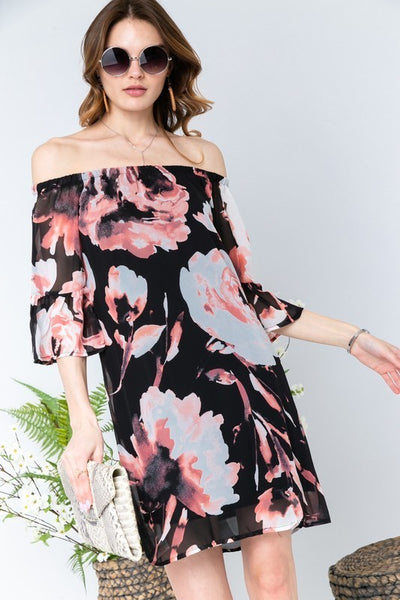 Floral Off Shoulder Bell Thigh High Dress