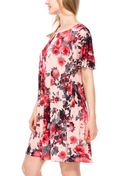 Floral Swing Dress W/ Pockets