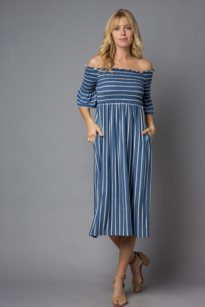 Striped Off Shoulder Ruffle Sleeve Midi Dress