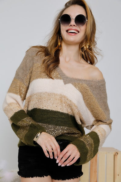 Sequined Color Block V Neck Sweater