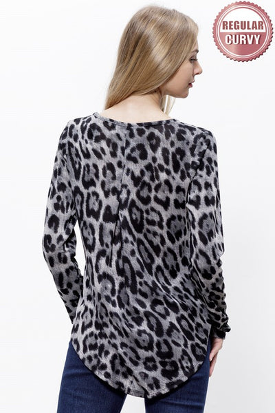 Leopard Print V-Neck Top with Pleat Detail
