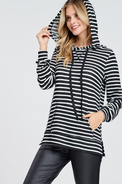 Striped Front Pocket Knit Hoodie