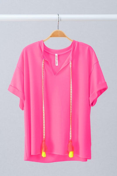 Neon Open V-Neck Tee with Braided Tassel