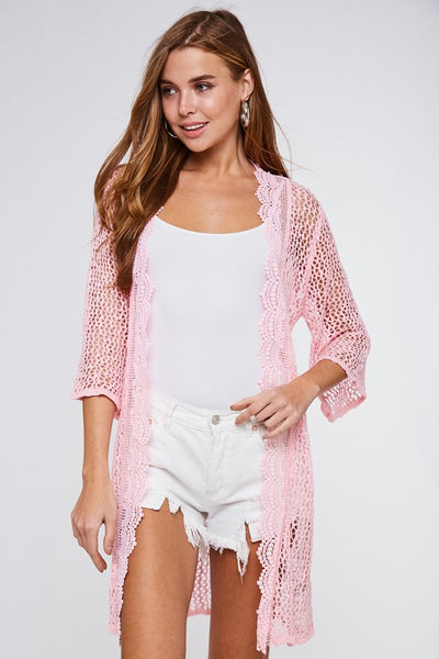 Crochet Trim Long Cardigan