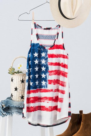 All Over American Flag Stripe Back Tank