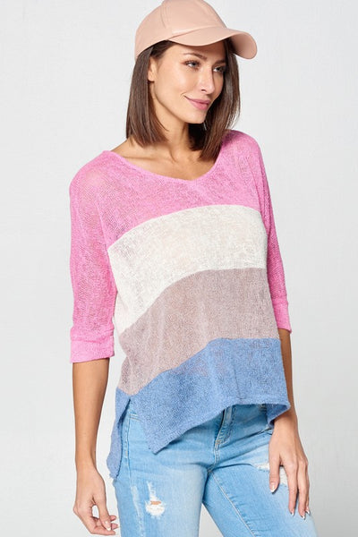 Color Block Loose-Fit Knit Top