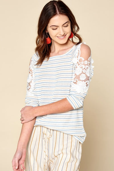 Crochet Detailed Cold-Shoulder Striped Knit Top