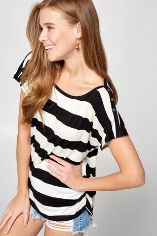 Casual Striped Jersey Top with Side Ruching