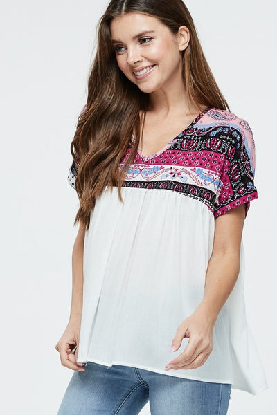 Short Sleeve Empire Waistline Print Knit Top