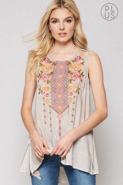 Sleeveless Top with Colorful Embroidery Details