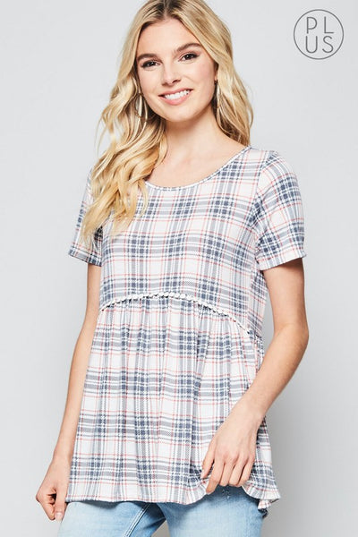 Plaid Babydoll Top with Pom Accent