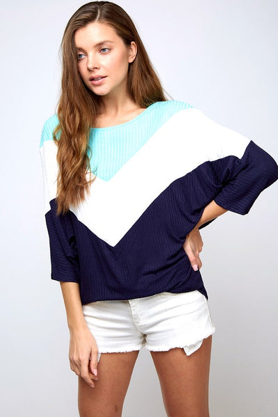 Chevron Color Block Knit Top