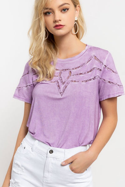 Short Sleeve Lace Inset Detail Tee