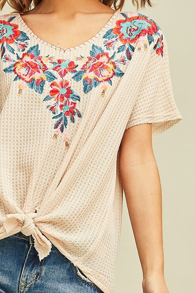 Waffle Embroidered Top