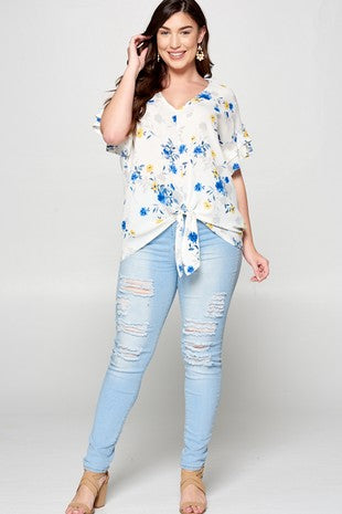 Summer Floral Bell Sleeve Top