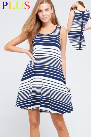 Sleeveless Stripe Pocket Dress with Button Back Detail