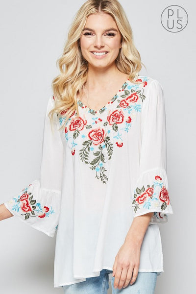Embroidered Blouse with Bell Sleeves