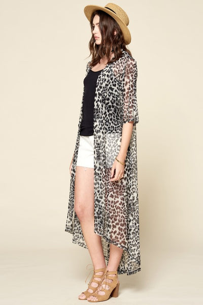 Open-Front Animal Printed Mesh Long Body Cardigan