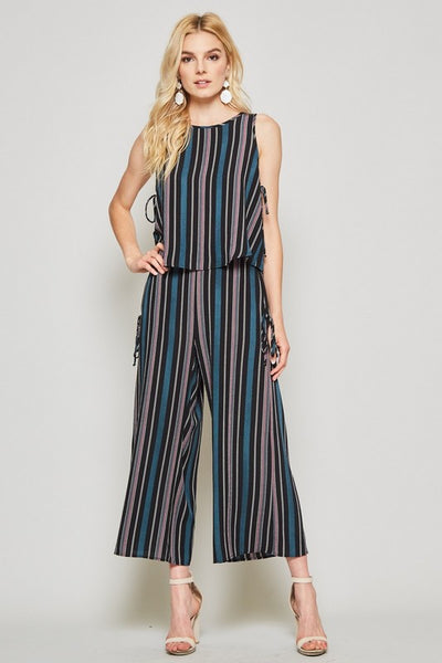 Woven Striped Set with Culotte Pants