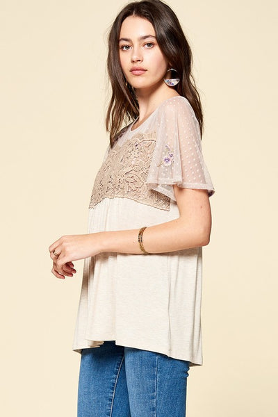 Lace Panel Detailed Dotted Mesh Babydoll Top