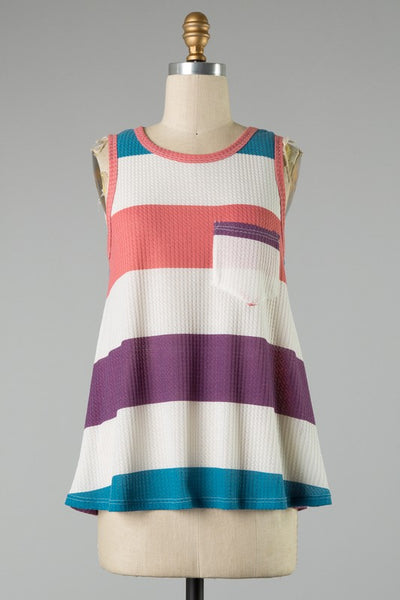 Striped Thermal Knit Tank Top