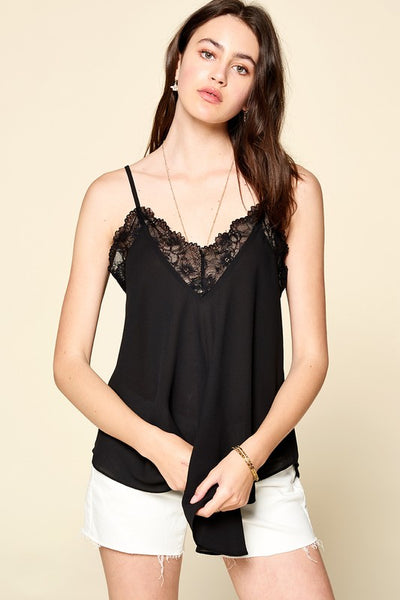 Lace Trimmed Solid Sleeveless Cami Tank Top