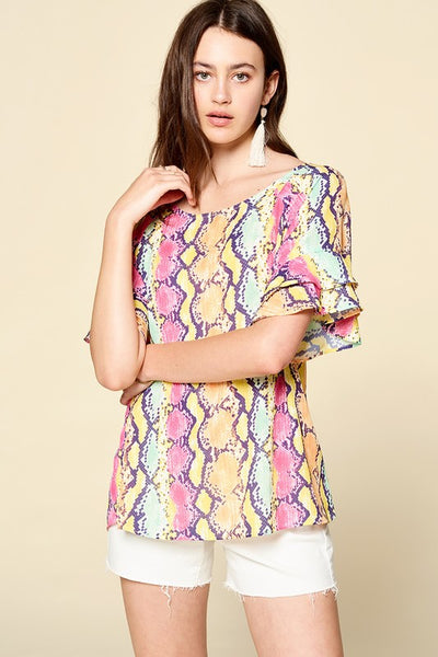 Bell Sleeve Multi-Colored Snake Printed Blouse