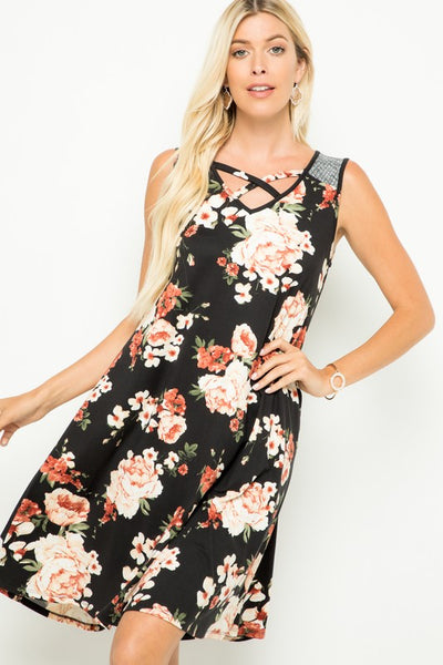 Sleeveless Floral Print Criss Cross Front V-Neck Dress