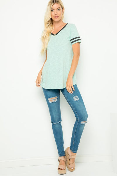 Triblend Short Sleeve V-Neck Top