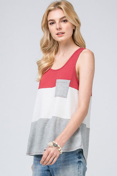 Color Block Pocket Tank