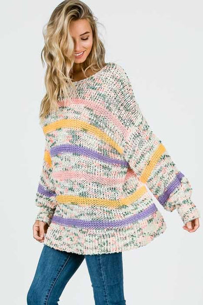 Double Stranded Yarn Stripe Pullover
