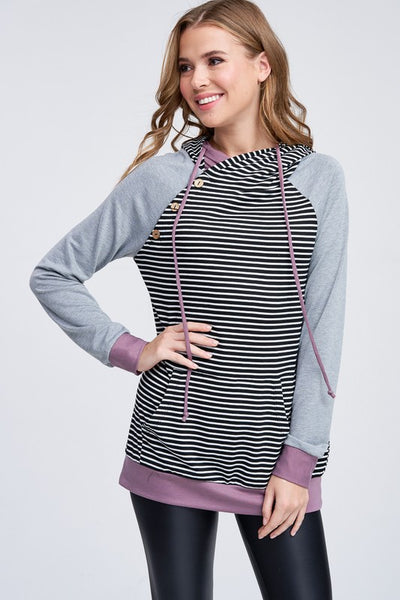 Solid Sleeve Button Trim Accent Stripe Hoodie