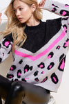 Neon Animal Print Sweater