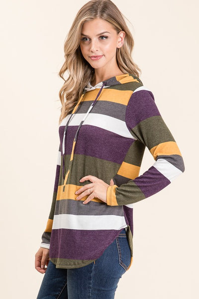 Color Block Striped Top with Hood