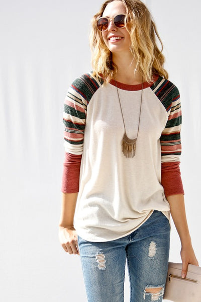 Long Sleeve Raglan Knit Top with Striped Sleeves