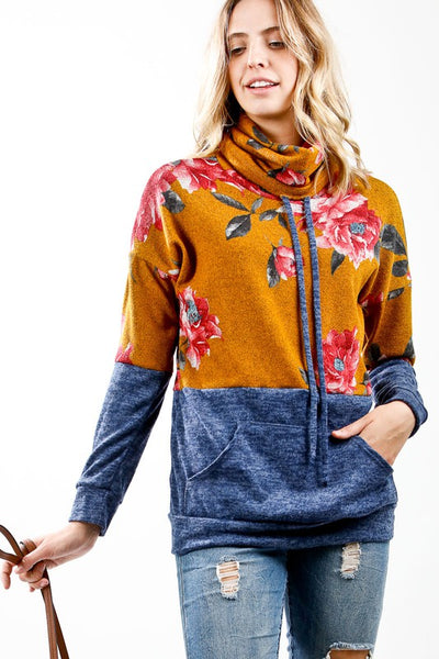 Floral Print Color Block Knit Turtleneck Top with Drawstrings