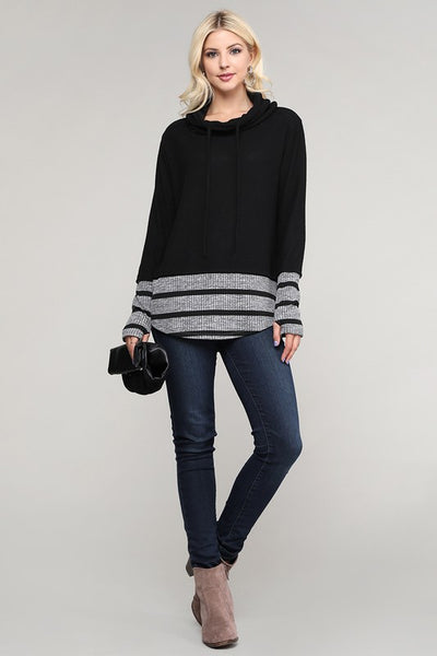 Solid Long Sleeve Striped Contrast Knitted Top