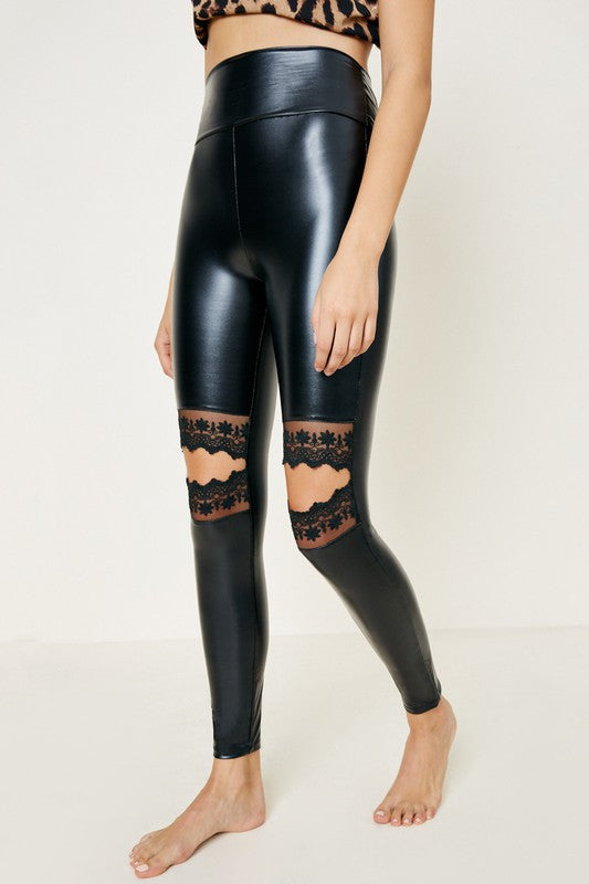 Lace Cutout Knee Liquid Leggings