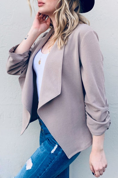 Solid Open Front Blazer With 3/4 Sleeves