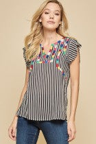 Flutter Sleeve Embroidered Top