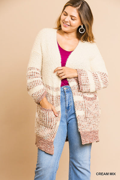 Multicolored Striped Long Sleeve Open Front Sweater Cardigan with Front Pockets