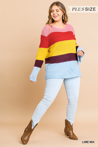 Long Bell Sleeve Colorblock Waffle Knit Pullover Sweater with Ribbed Neckline