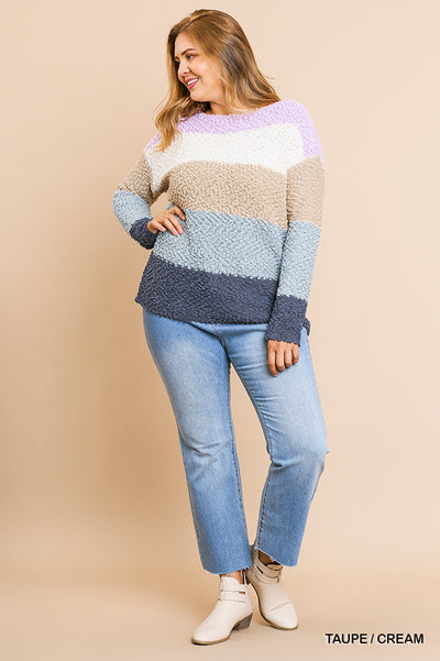 Colorblocked Multicolor Long Sleeve Soft Knit Pullover Sweater